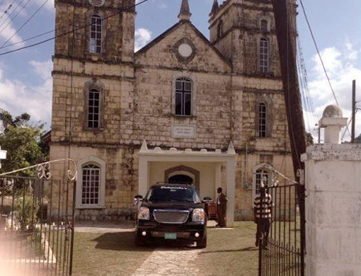 Car parked outside the church